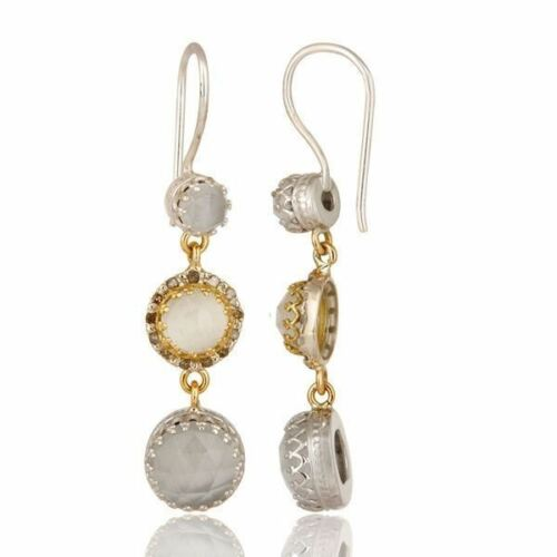 Details about  /Pave Diamond 18K Solid Gold 925 Silver Dangle Moonstone Earrings Wedding Jewelry