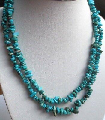 Rare Grand Collier Sautoir Multi-brin Perle Turquoise Naturel Bijou Vintage 5194 Vari Stili