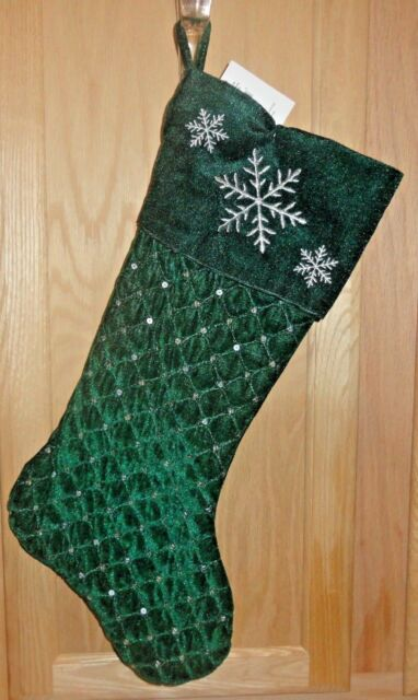bc06a82ea483e3 17-in Green Plush Quilted Velour Sequin Snowflake Cuff Christmas Stocking