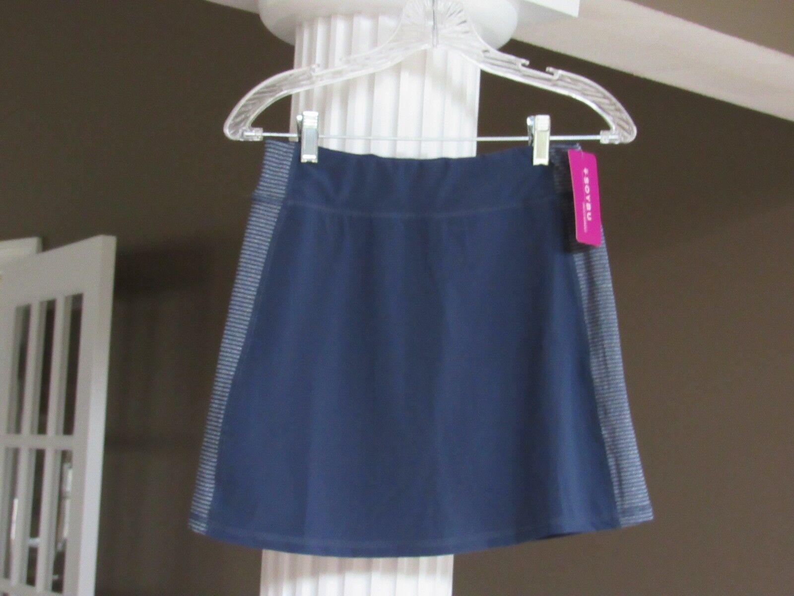 SOYBU Navy bluee Elastic Waist Side Stripe  Skort Size XS NWT
