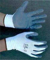 48 Pairs White Nylon Work Gloves W/ Gray Nitrile Palm Finger Coating S, M, L, Xl