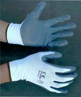 48 Pairs White Nylon Work Gloves W/ Gray Nitrile Palm Finger Coating S, M, L, Xl