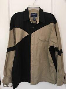 Vtg-Wrangler-Western-Shirts-Pearl-Snap-Heavy-Cotton-Cowboy-Brown-Black-Mens-XL