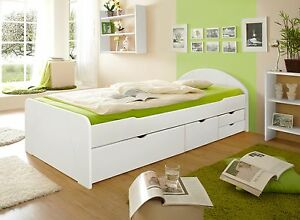 schubkastenbett 100x200 cm schubladenbett funktionsbett kinderbett massiv wei. Black Bedroom Furniture Sets. Home Design Ideas