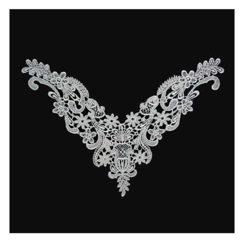 10 x 8 inches White Ivory Venice Embroidery Bodice Motif Applique by Piece
