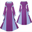 Vintage Medieval Bell Sleeve Striped Gown Halloween Women Costume Retro Dress