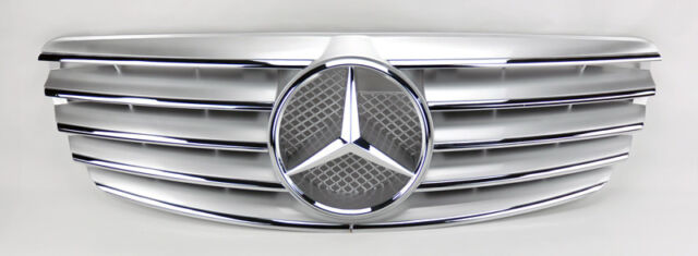 5 Fin Front Hood Silver Chrome Grill Grille for Mercedes E Class W211 03-06