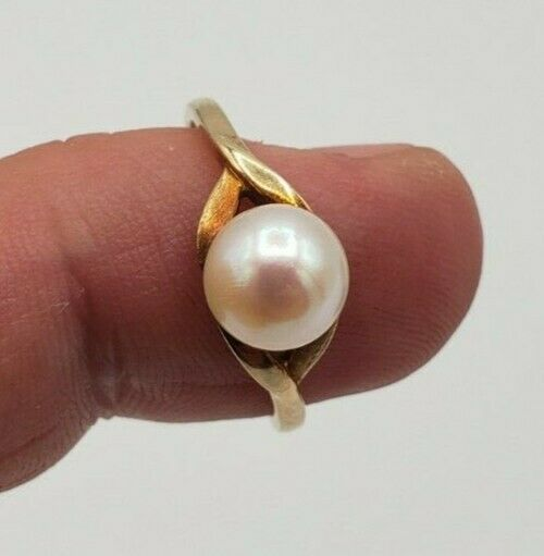 14K YELLOW GOLD SOLITAIRE PEARL RING 2.8 GRAMS - image 4