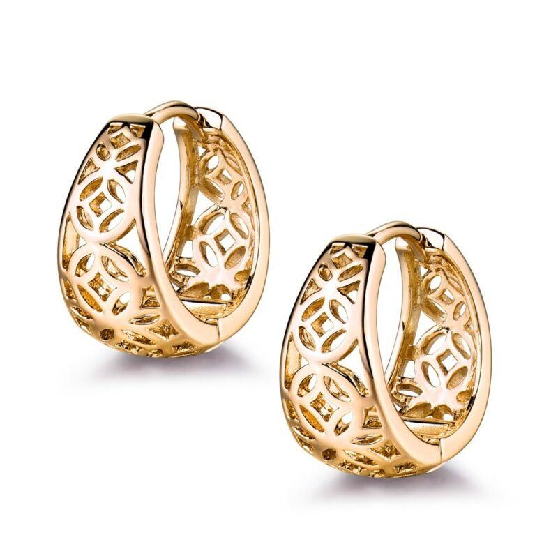 Twinkling Lady Wedding Jewelry 18k Yellow Gold Filled Women Party Hoop Earrings