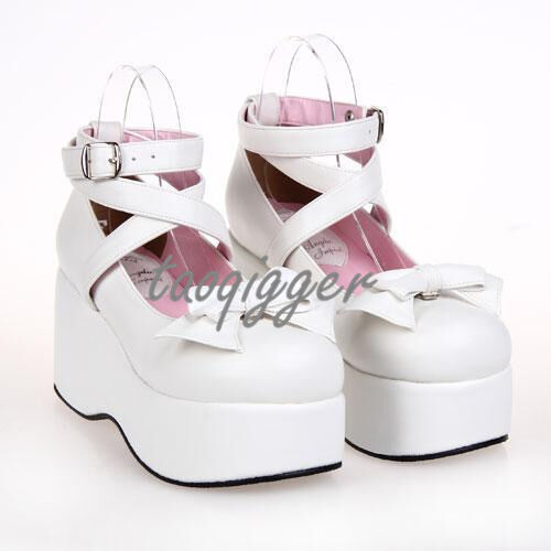 2017 Women's Lolita Bowtie Cross Strap Round Head Creepers Gothic Shoes Cosplay