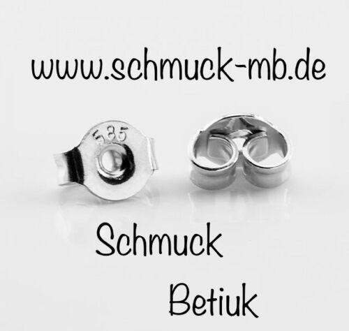 1 Paar OHRMUTTER 585 Gold Ersatzteil für Ohrstecker Ohrring Weissgold 2Stück