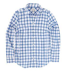 J-Crew-Factory-Womens-XL-NWT-Blue-Windowpane-Plaid-Light-Wt-Flannel-Shirt
