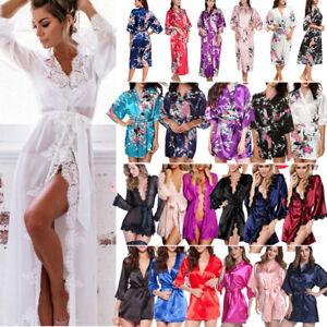 Silk-Satin-Lace-Robe-Sleepwear-Babydoll-Nightdress-Pajamas-Bridesmaid-Bathrobe