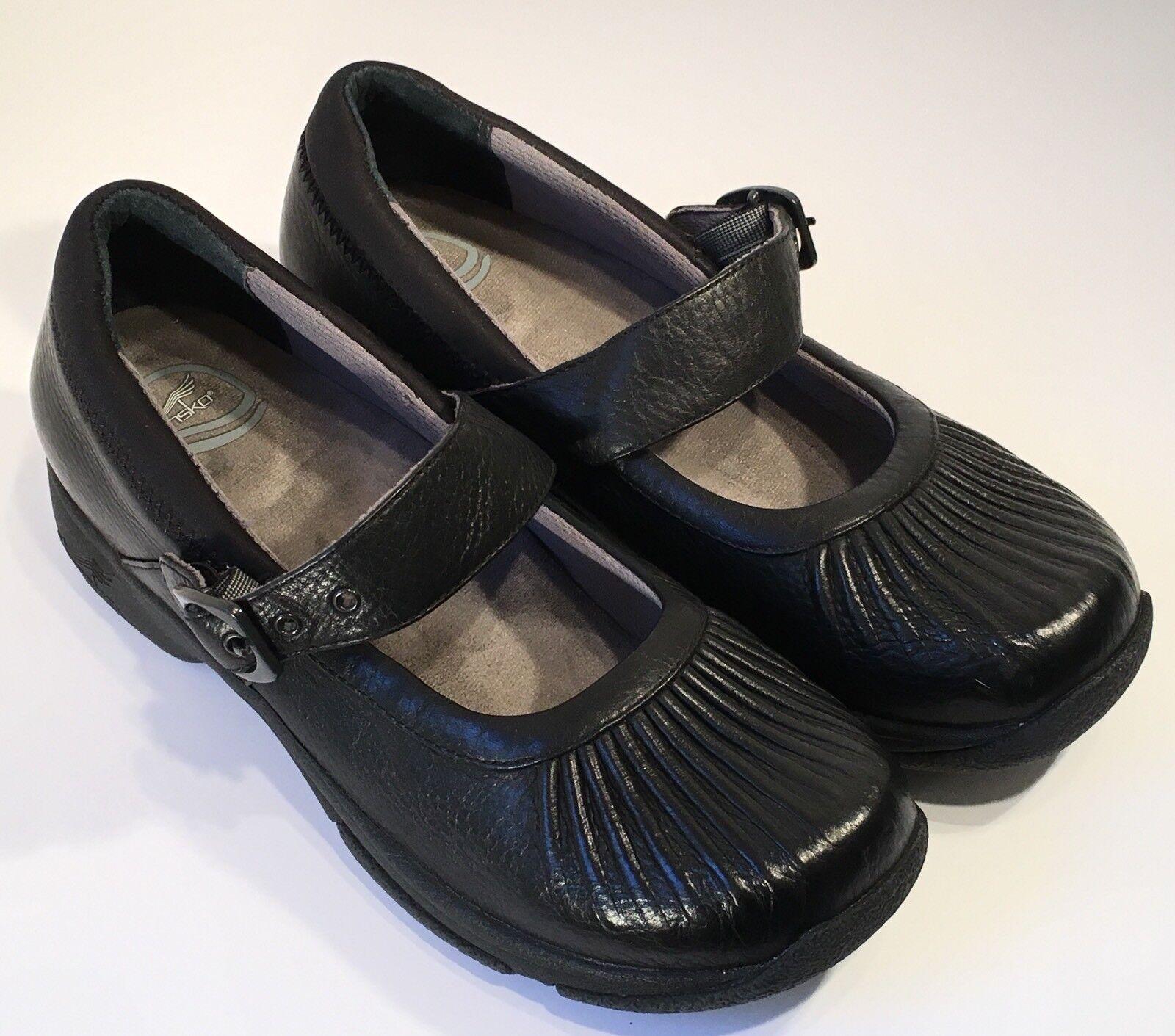 Zapatos De De De Cuero Dansko Kitty Mary Jane Negro Fruncido para Mujer Talla 40-SUAVEMENTE DESGASTADOS  las mejores marcas venden barato