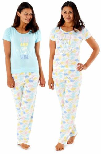 Ladies 100/% cotton long leg short sleeved nightwear pyjamas in two prints