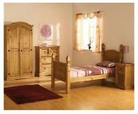 Mexican Pine Corona Bedroom Set Bed, Wardrobe, Bedside & Chest