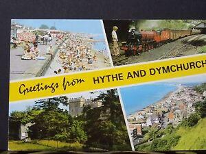 Postcard-034-C1970-039-s-Postcard-with-4-Views-Of-Hythe-amp-Dymchurch-Kent-034