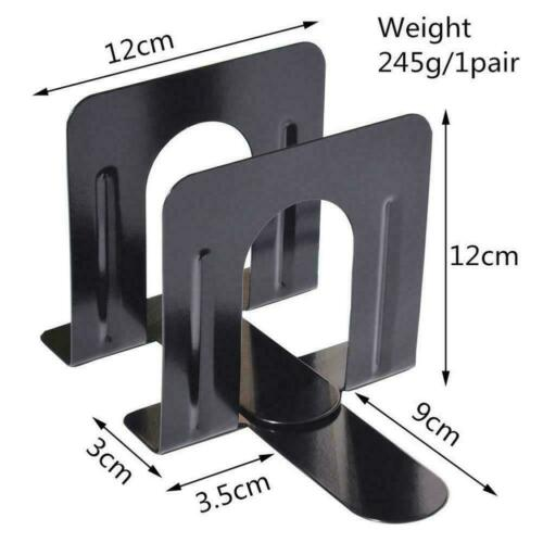"""Non Skid Bookends Solid Metal 120/""""mm High One Pair of 2 Bookends Black-Meta B3W2"""