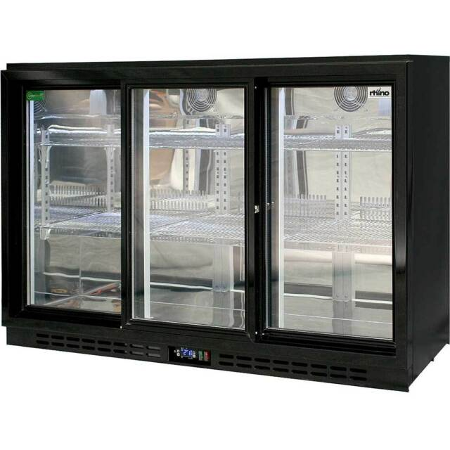 Brand New Rhino Sliding 3 Door Glass Bar Fridge Commercial Energy Efficient
