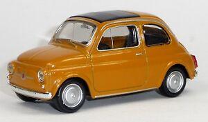 FIAT-500-Nuova-Modellauto-Spritzguss-ca-8-3cm-in-ockerbraun-von-WELLY