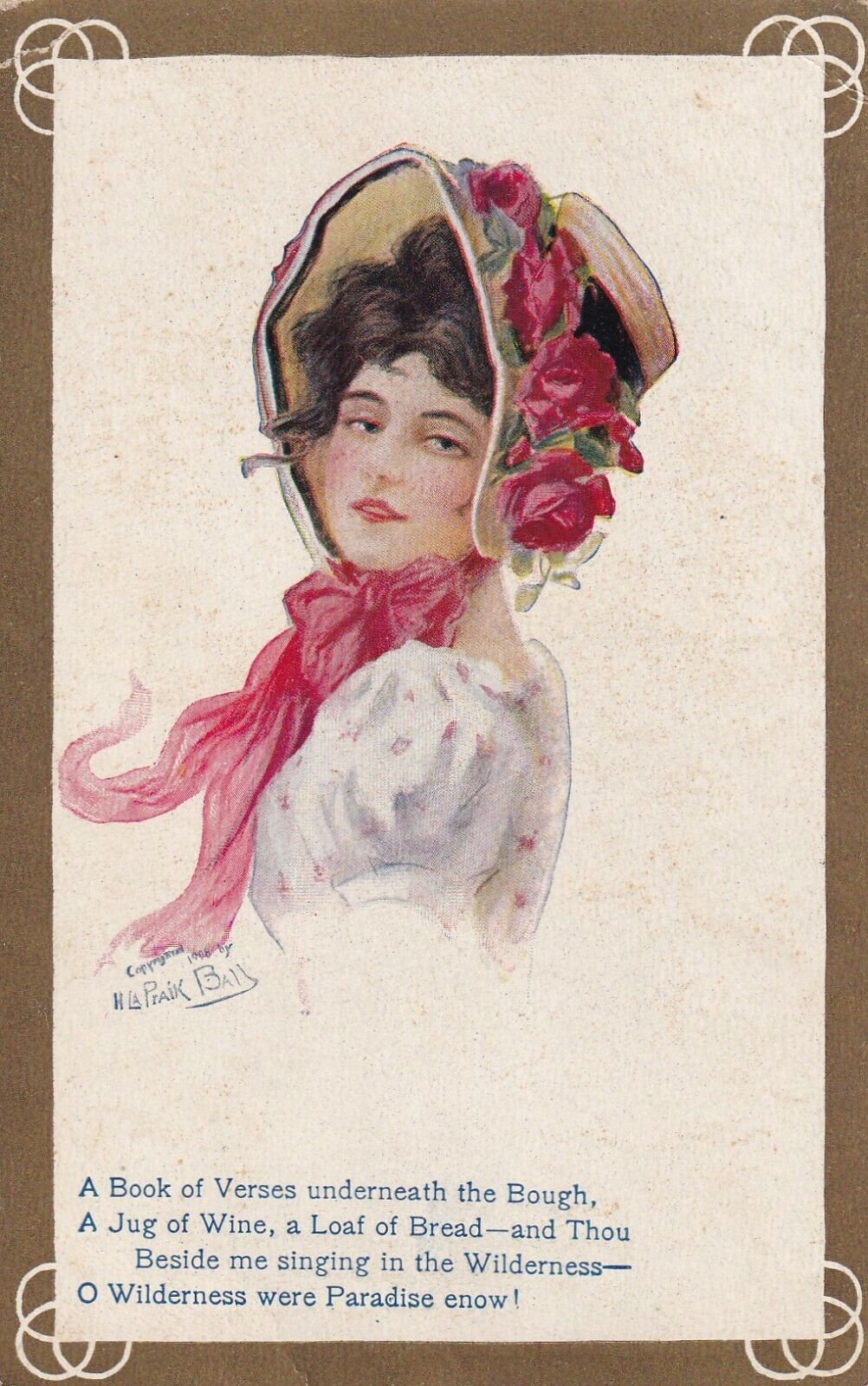 AS: Woman wearing bonnet of Red Roses, Poem