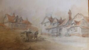 Original Old Watercolour Painting Cottages, Landscape, Horse and a Cart.