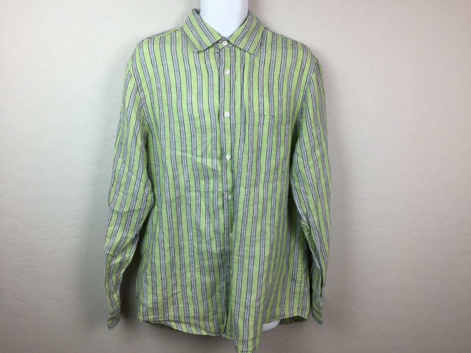 Express Men's Green Striped Button Up Shirt White… - image 7