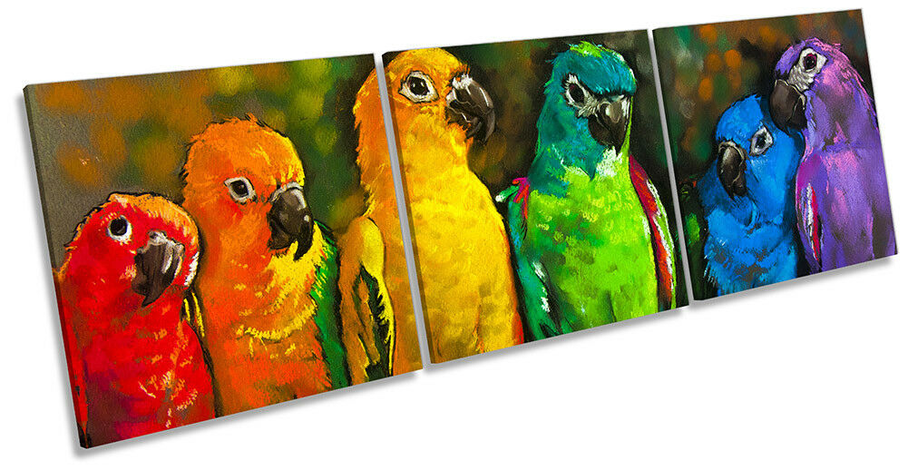 Parrots Birds Repro Picture CANVAS WALL ART Triple Print