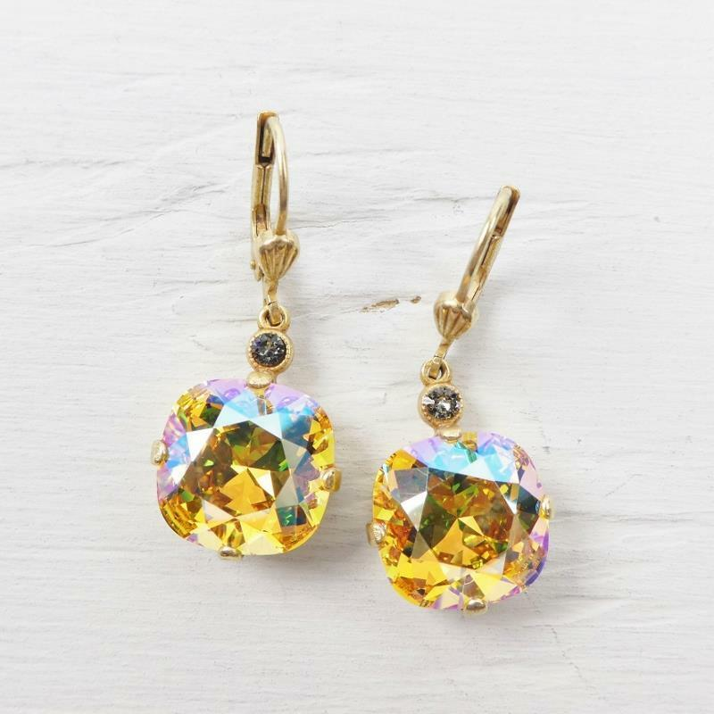 La Vie Parisienne Catherine Popesco Large Round Crystal Earrings Topaz Shimmer