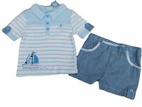 Baby Boys Blue Stripey Sailing Ship 2 Piece T-shirt And Shorts Set Clothes