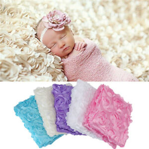 1x Soft Newborn Photography Props Rug Baby Photo 3D Rose Flower Backdrop Blanket