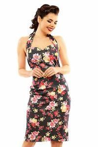 1af3854fce6dc New Ladies Retro Vintage 1940's Halter Neck Body Con Wiggle Dress ...