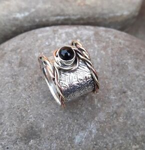 Black-Onyx-Solid-925-Sterling-Silver-Band-Meditation-Statement-Ring-Size-M420