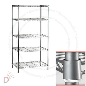 chrome kitchen storage racks 5 tier chrome heavy duty steel kitchen garage storage 5421