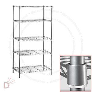 5 tier chrome heavy duty steel kitchen garage storage. Black Bedroom Furniture Sets. Home Design Ideas