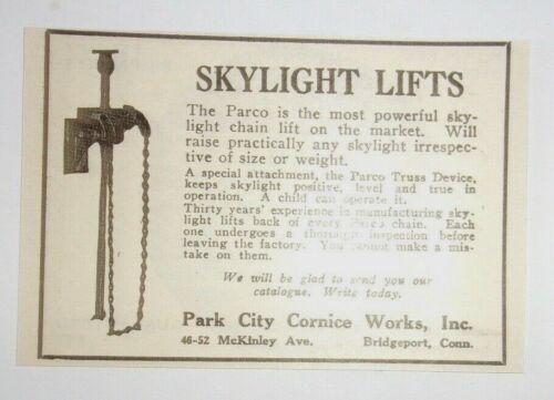 Bridgeport 1925 Skylight Lifts Advertisement Park City Cornice Works Inc Conn.