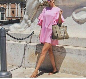 Zara Popelin Mini Kleid Ruschen Volants Flowing Short Dress Frilled Sleeve M L Ebay