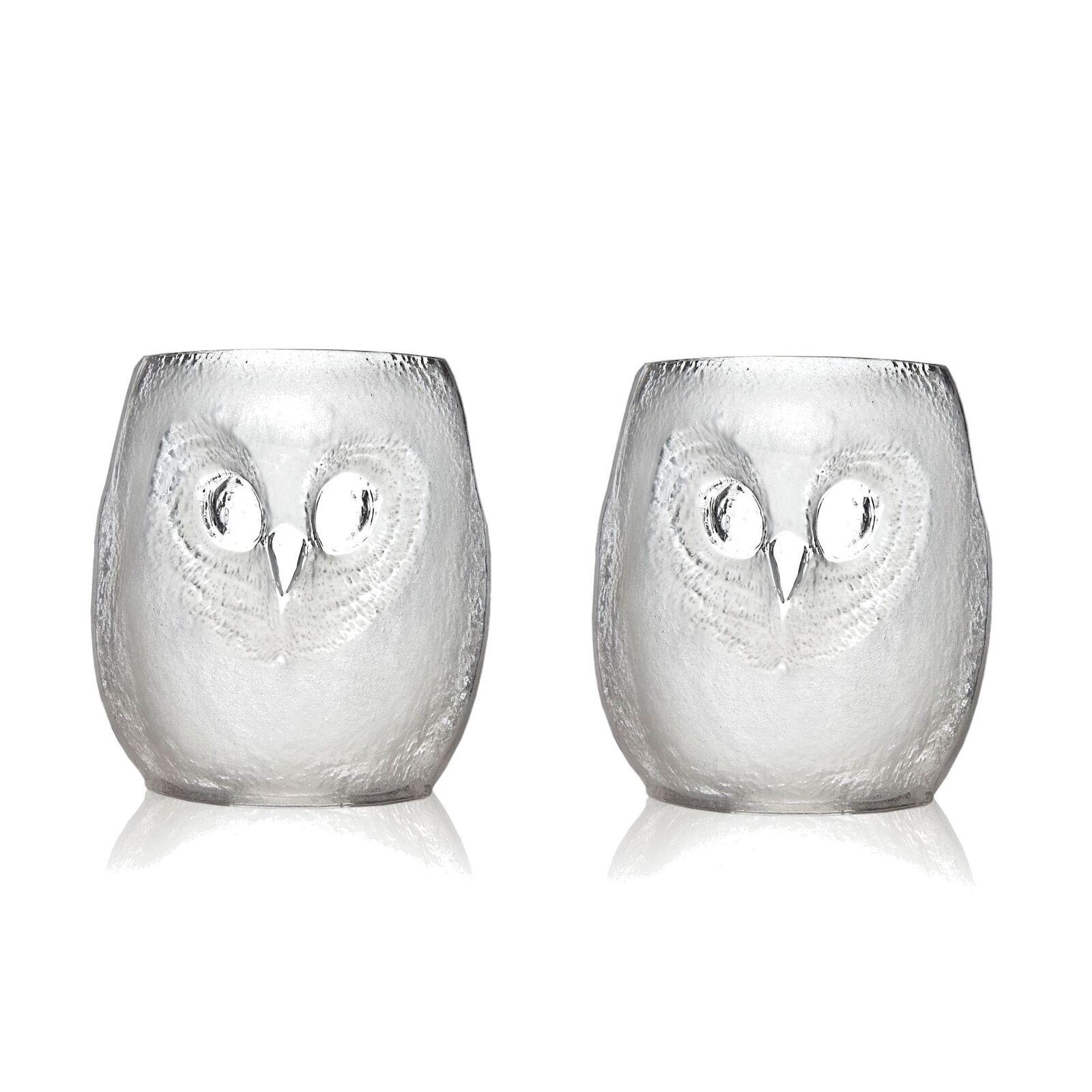 Mats Jonasson Målerås Set of 2 Strix Owl Tumbler Large White - 10cm