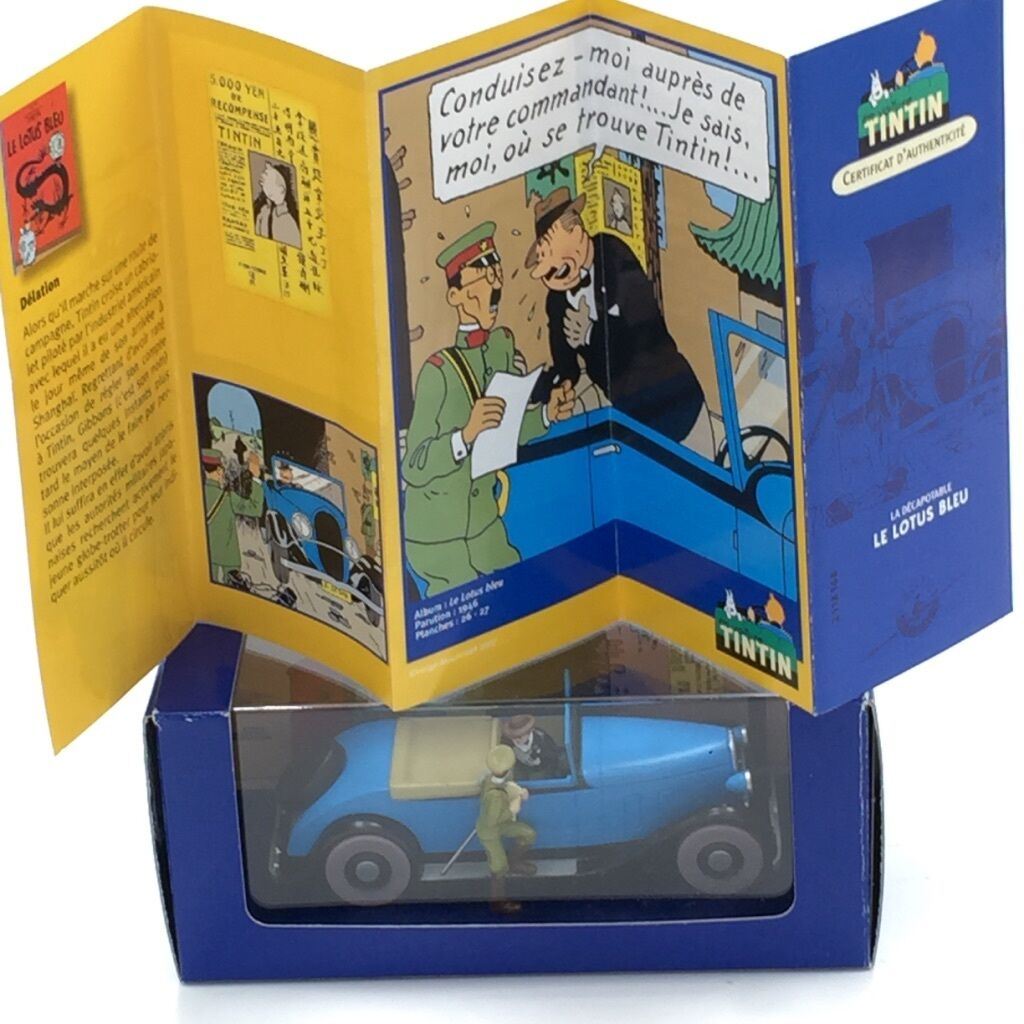En Voiture Tintin - N68 décapotable de gibbons le lotus Blau boîte +certificat