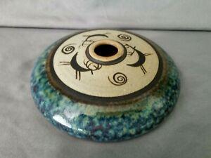 Mid-Century-Signed-Studio-Art-Pottery-Oill-Lamp-Vase-Stag-Deer