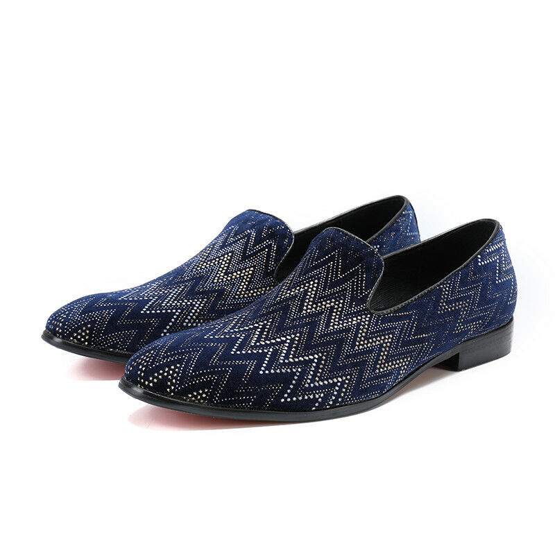 2019 New Men's Pointed Toe Rhinestore Leather Slip On Loafers Formal Shoes X877