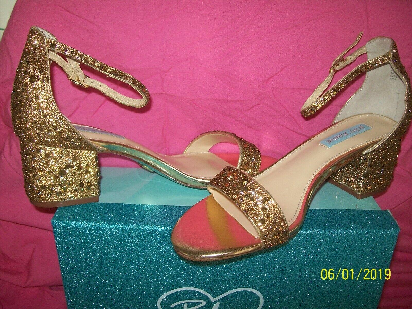 blueE  Betsy Johnson  gold  Sz 8.5   Sb-Mari   DAZZLING  Sandal   NEW in Box