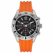 BRAND NEW NAUTICA N17666G NST 402 ORANGE RUBBER STRAP BLACK DIAL MEN'S WATCH