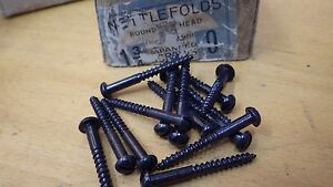 Other Fasteners 25 x NETTLEFOLDS GKN 1 3/4 x 10  BLACK JAPANNED ROUND HEAD WOOD SCREWS SLOTTED DIY Materials