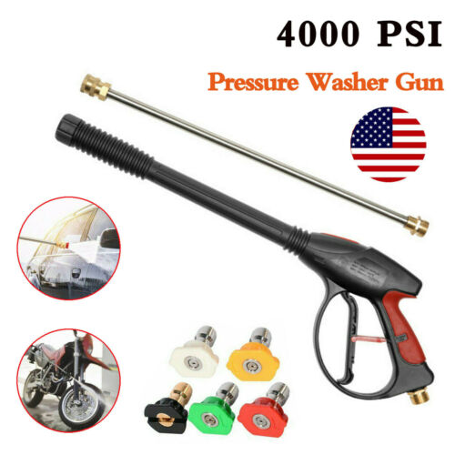 High Pressure 4000PSI Car Power Washer Spray Gun Wand//Lance Nozzle Tips Hose Kit