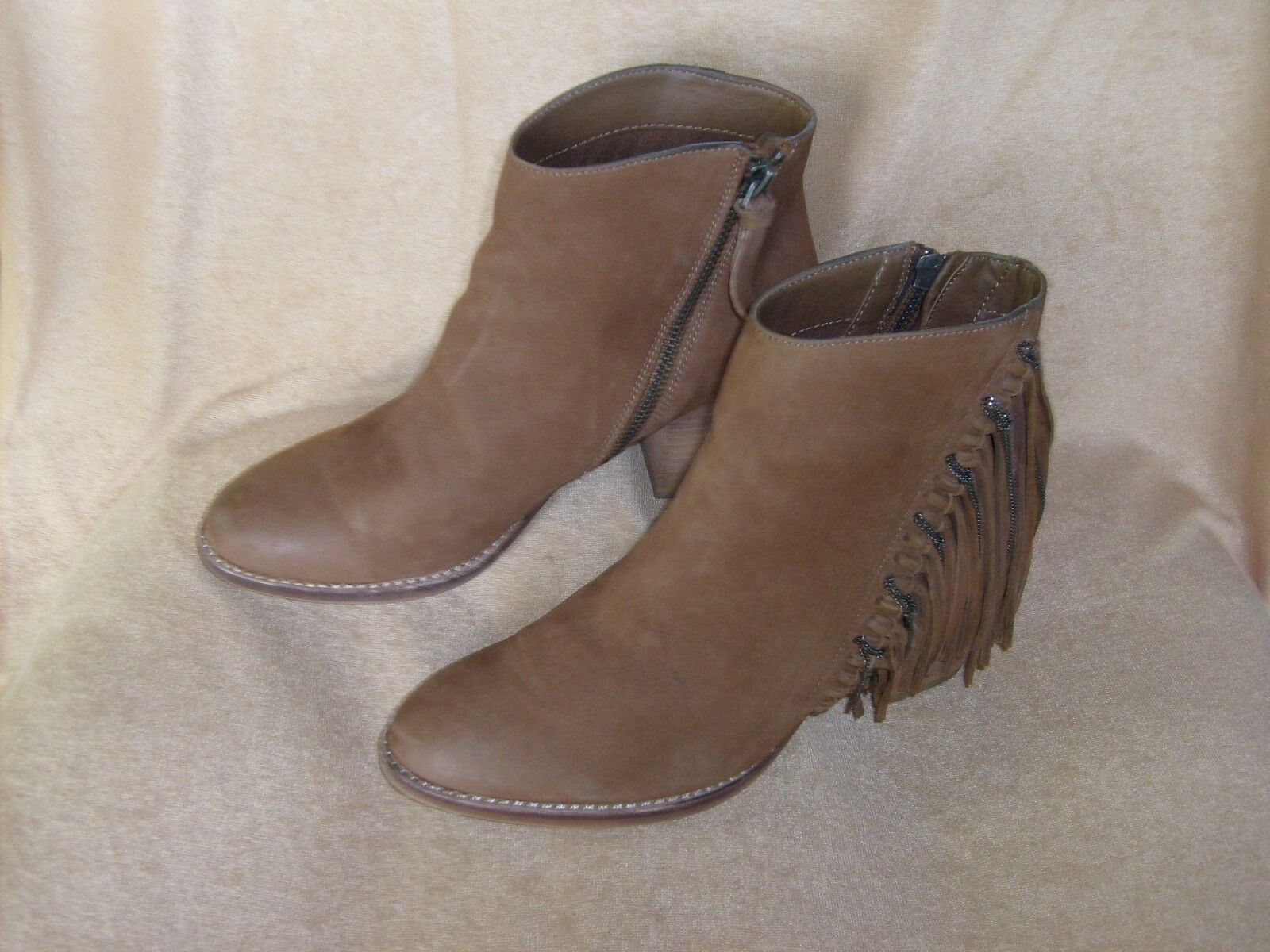 Dolci Vita Brown Suede Fringed Ankle Boots-Sz 6.5-FREE SHIPPING