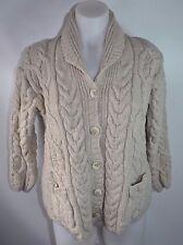 AranCrafts XS S 100% Wool Women's Cardigan Sweater Irish Fisherman Cream Brown