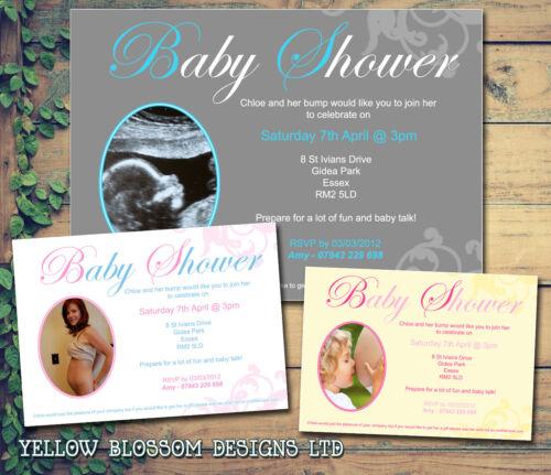 10 Personnalisé Baby Shower Party Invitations scan photo des tourbillons Unisexe Garçon Fille