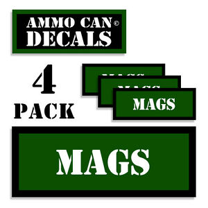 """MAGS Ammo Can Labels for Ammunition Case 3/"""" x 1/"""" stickers decals 2 PACK AG"""