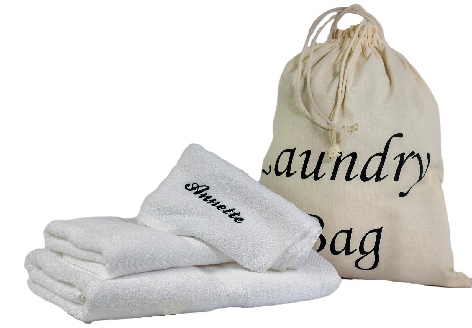 4 tlg Set Handtuch Duschtuch Gästetuch Wäschebeutel mit Wunschnamen weiß 100% BW     |